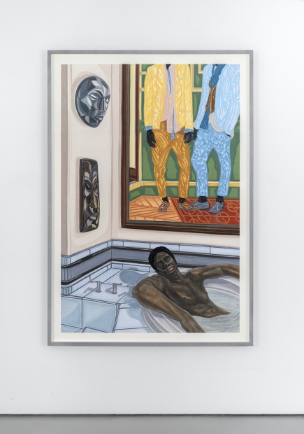 A drawing on paper depicts a Black man relaxing in a tiled bathtub with art objects including two masks and a rendering of two Black men in colorful suits hanging on adjacent walls behind the tub.