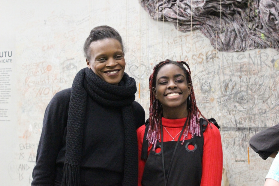 Okwui Okpokwasili and Mithsuca, ICA Teen during a Teen Arts Council event, 2018