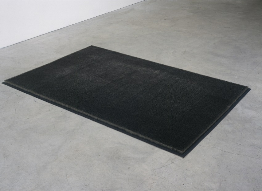 A sculpture of upright stainless-steel pins packed tightly onto a rectangular canvas on the floor, resembling a black rug.
