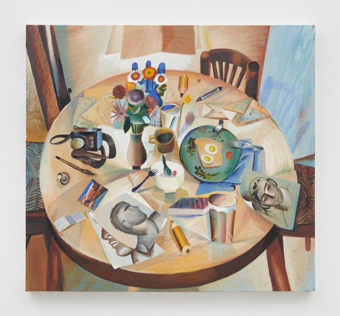 An almost-square painting depicting a stylized breakfast table from above.