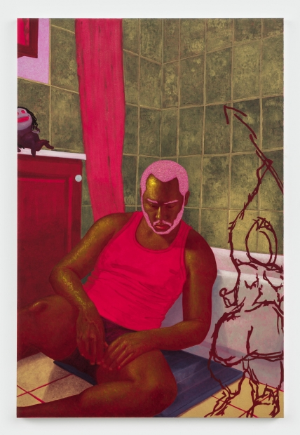 A painting of a dark-skinned man with a beard sitting on the floor of a tiled bathroom, wearing an undershirt and underpants, his hands in his lap.