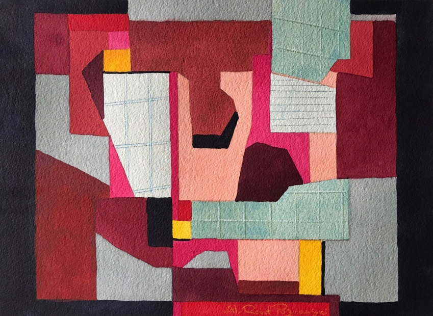A watercolor painting showing various overlapping geometric shapes and scraps, some with various grid markings, in shades of pink, red, light gray, sage green, peach, and yellow.