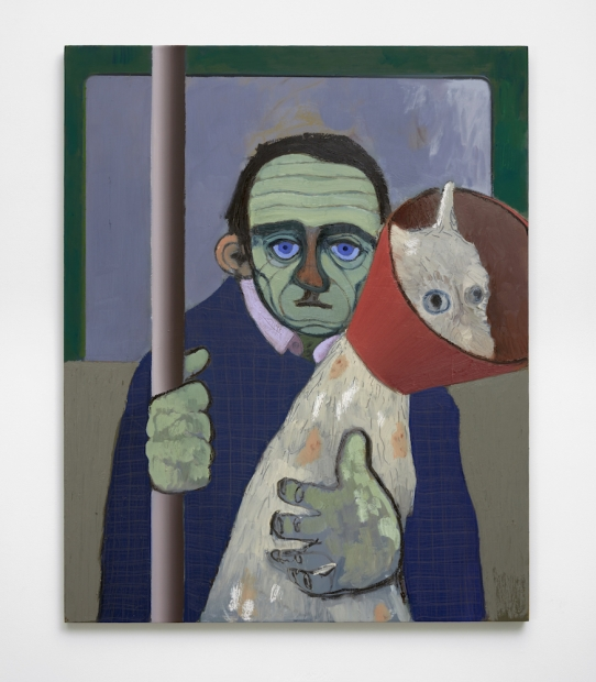 An oil painting depicts a man seated in a subway car holding the subway pole in his left hand and embracing a white dog with a red cone around its head in his right hand.