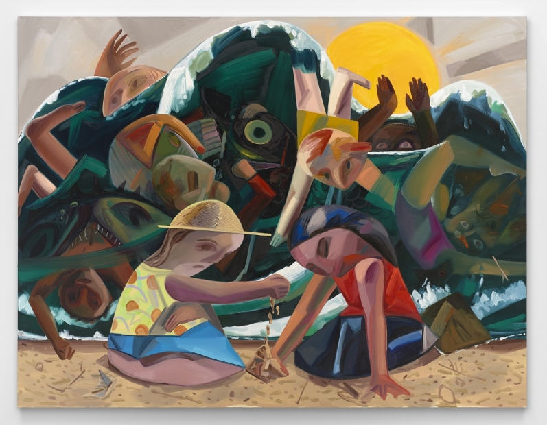 An oil painting depicts an abstracted scene of two children in colorful clothing playing on a sandy beach as an enormous dark wave filled with drowning figures approaches the shore.