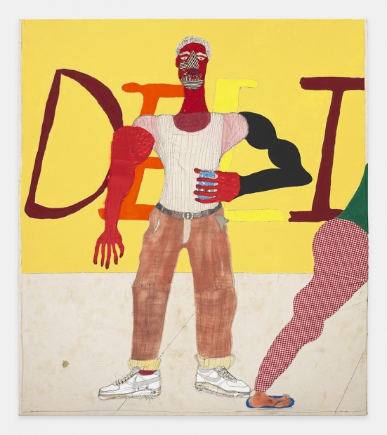 "An artwork created of fabric and threads depicts a stylized male figure holding a beer stands wide-legged in front of a yellow wall reading ""DELI""."