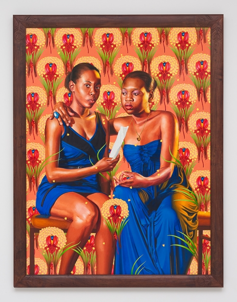 A painting of two formally dressed women in front of an orange floral background.