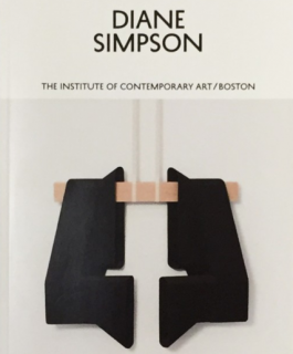 "The cover of Diana Simpson's catalogue featuring a sculpture and the exhibition title ""Diane Simpson."""
