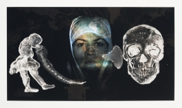 A color photograph shows a collage of three figures: a standing human figure, the projected face of a woman in a headscarf gazing directly at the viewer, and a human skull.