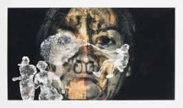A color photograph shows a collage of three figures in white in various poses overlaying an enlarged image of a woman's face projected with light and directly facing the viewer.