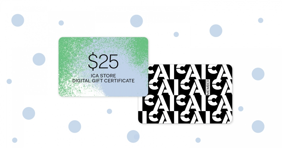 "Two cards surrounded by light blue dots. Oner reads ""$25 ICA Store Digital Gift Certificate,"" the other ICA Member."