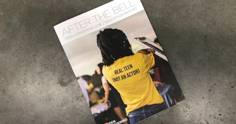 "Cover of 2016 Teen Convening Report featuring teen in shirt reading ""Real teen - not an actor"""