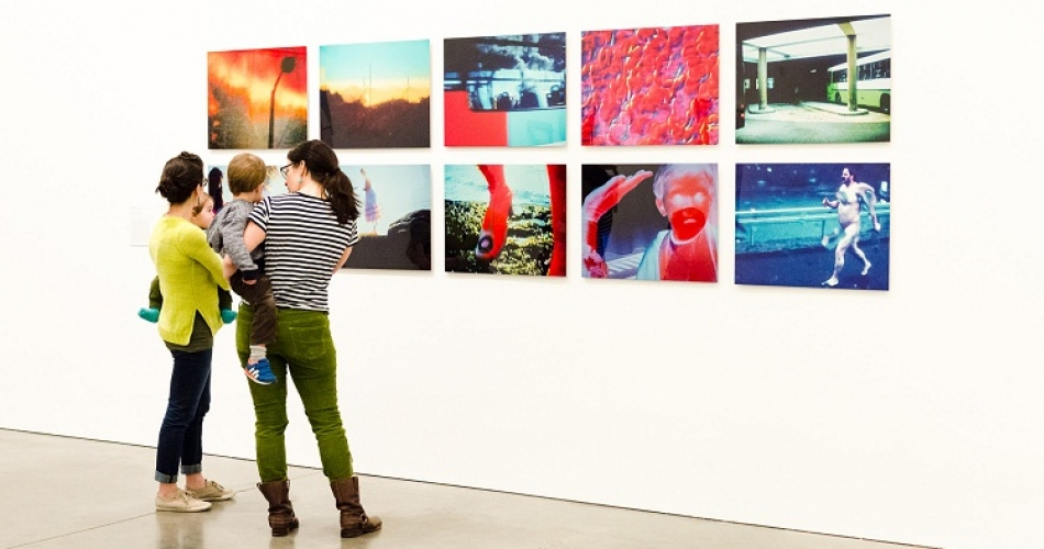 """Moms and kids with Pipilotti Rist's """"Remake of the Weekend (Stills)"""""""