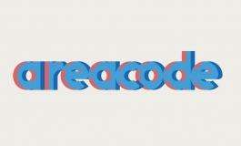 "Lowercase letters in blue, with a red drop shadow, that reads ""areacode"""