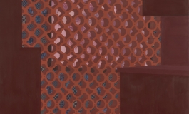 A painting of a bright red lattice screen separating a dark red room from a blue room featuring a pink family portrait