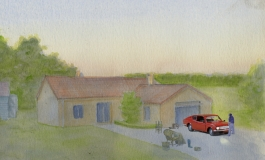 An animated film still of a house with a red car in the driveway.