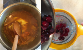 Three panels of images depicting a step-by-step guide of dyeing fabric from a plant-based solution.