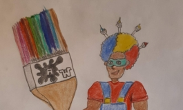A crayon drawing of a characters in overalls, rainbow-colored hair, and a giant paintbrush.