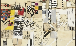 A mixed- media collage of various abstracted geometric designs in black and white and in color.