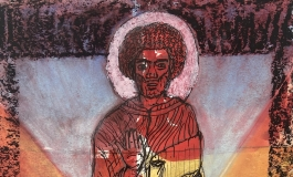 A drawing of a figure with beard, afro, and a halo around his head and robes suggesting he is a saint. His robes and the background bear the colors of the rainbow.