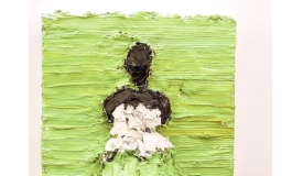 A painting with thick impasto shows a black female figure on a lime green background. She is wearing a strapless white top and a skirt the same green as the background. Her facial features are not rendered. On the bottom right of the canvas two figures, possibly children, are rendered sculpturally out of paint.