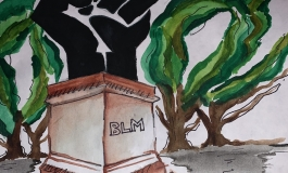 "A watercolor of an outdoor monument depicting a raised black fist on a plinth with the inscriptions ""BLM,"" with trees in the background."
