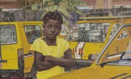 A painting of a child dressed in yellow surrounded by three yellow cars