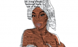An illustration of a medium dark-skinned women with a bathrobe and towel wrapped hair, drawn and painted over a cut-out of newspaper with bold text.