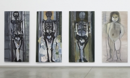 A series of four tall paintings, three of black skeletons and one of a nude young girl with her hands behind her back.