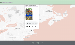 A website of a map interface of the Northeastern United States with geo-tags featuring audio and images.