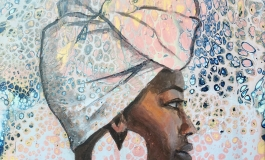 An illustration of a dark skinned woman in a head wrap.