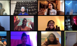 A screenshot of a Zoom meeting with ICA teens and educators