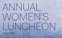 "Text on a blue watercolor background reads ""Annual Women's Luncheon 5/14/2020""."