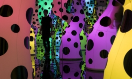 A photo shows a mirrored room filled with inflated glowing tentacles in different colors and colored with black dots of varying sizes.
