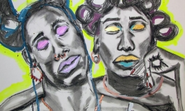 A drawing made from acrylic paint and charcoal depicting two Black figures with hair rollers and jewelry.
